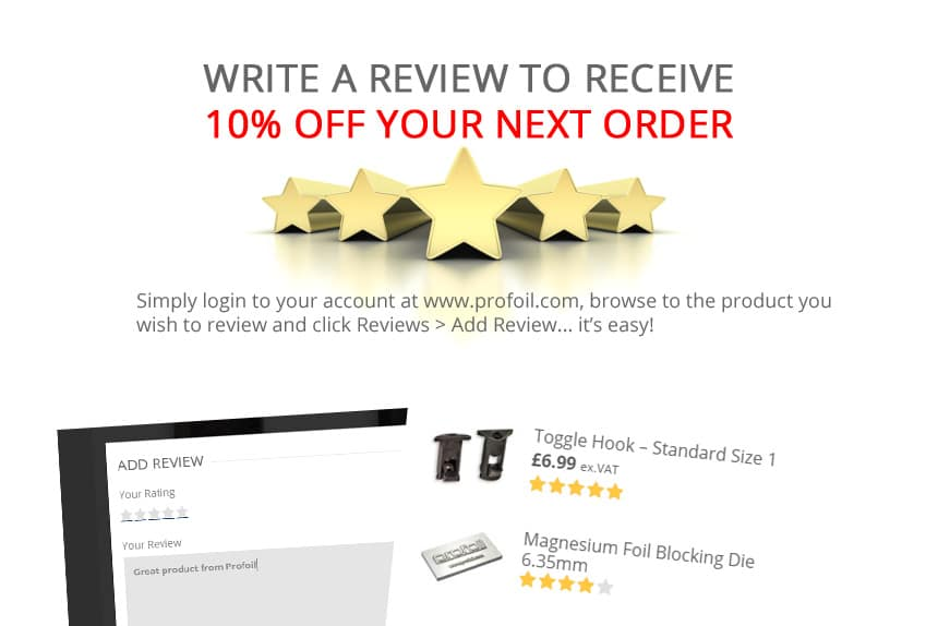 Leave A Review For 10 Discount Profoil
