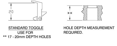standard toggle hook size guide